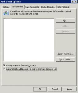 Safe Senders List is Blank