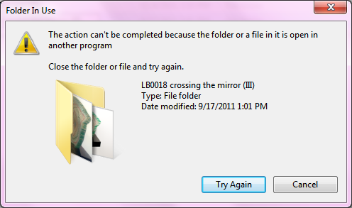 This Action Can't Be Completed Because The File Is Open In Another Program