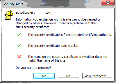 The name on the security certificate is invalid or does not match the name of the site.